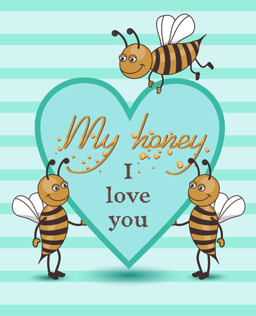 vector card with bees photo