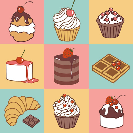 vector seamless pattern with bake and sweets Illustration