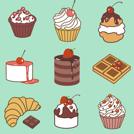 vector set with bake and sweets