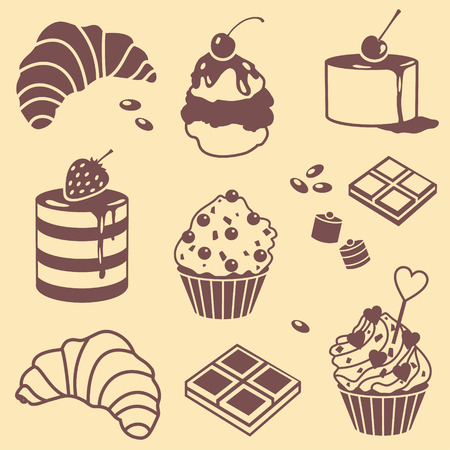 custard: vector silhouette set with bake and sweets