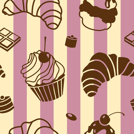 vector seamless pattern with bake and sweets Vector