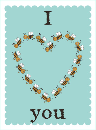 vector card with bees Vector