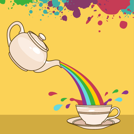 vector illustration of rainbow tea Vector