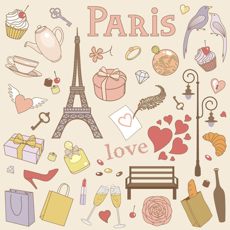vector set of Paris Illustration