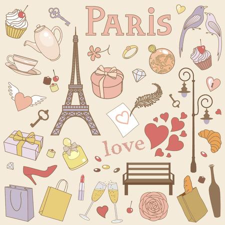 french cafe: vector set of Paris Illustration