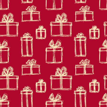 vector seamless pattern with sketch presents