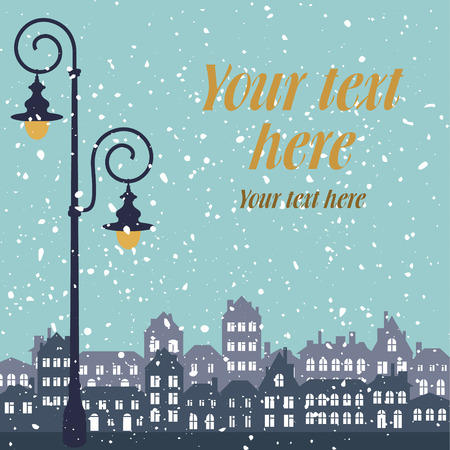 vector illustration of snow romantic city