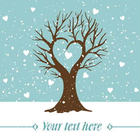 vector illustration of snow love-tree in winter Vector