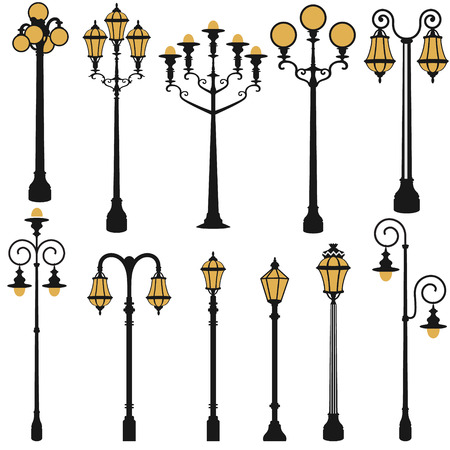 electricity post: vector set of street lamp set