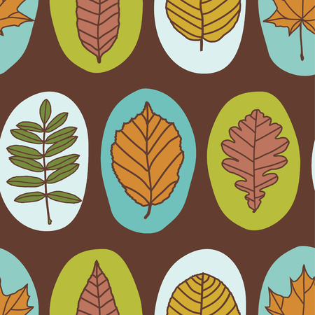 elm: vector seamless pattern with autimn leaves
