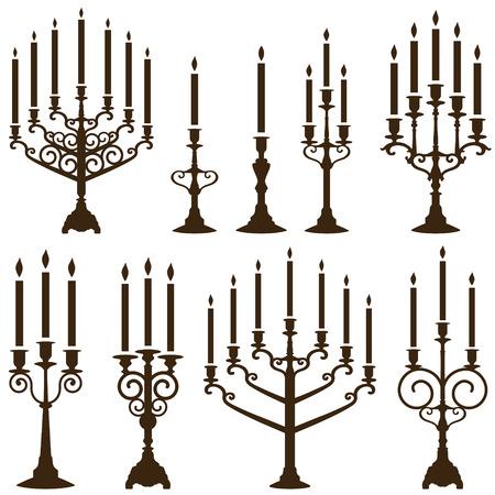 vector chandelier silhouettes set Illustration