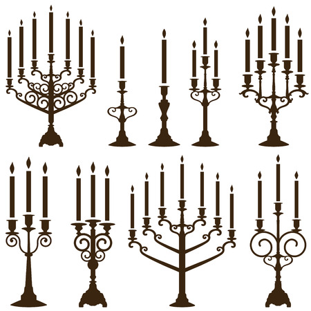 vector chandelier silhouettes set Vector