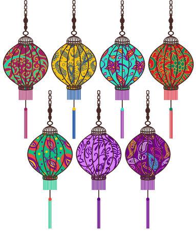 vector Chinese lantern set