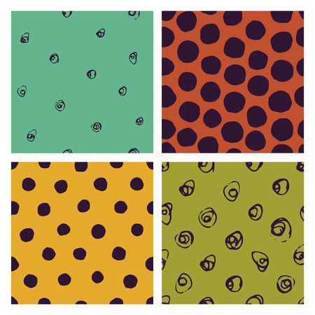 vector seamless patterns with various hand-drawed dots Illustration