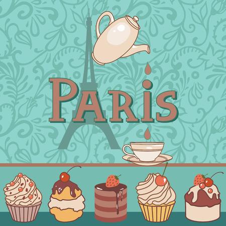 copas: Tarjeta del vector con paris bakery