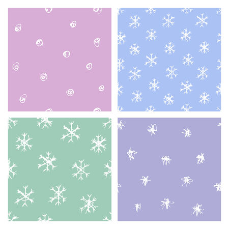 vector seamless patterns with various hand-drawed snowflakes Illustration