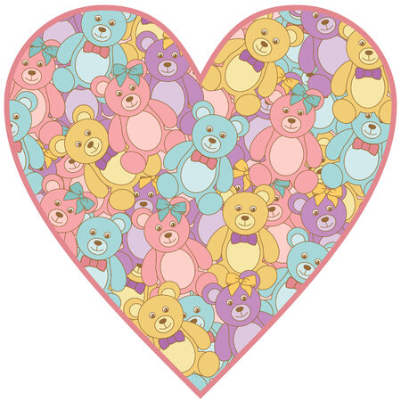 vector heart made of teddy bears Vector