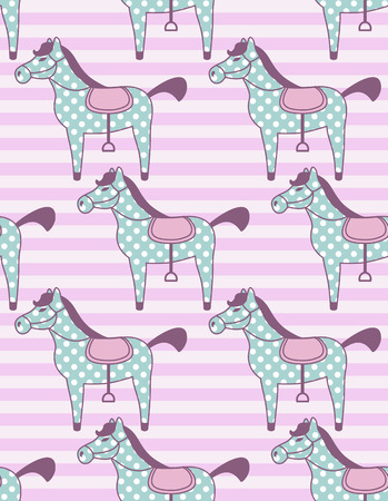 baby girl cartoon: vector seamless pattern with toy horses Illustration