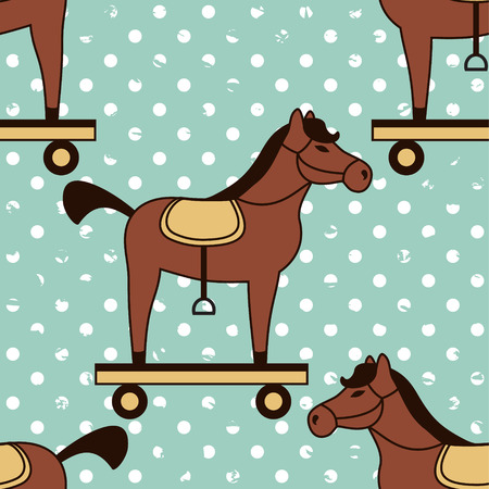 seamless vector pattern with toy horses Vector