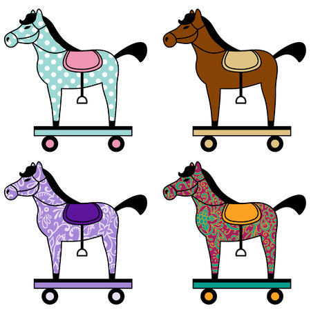 vector set of toy horses