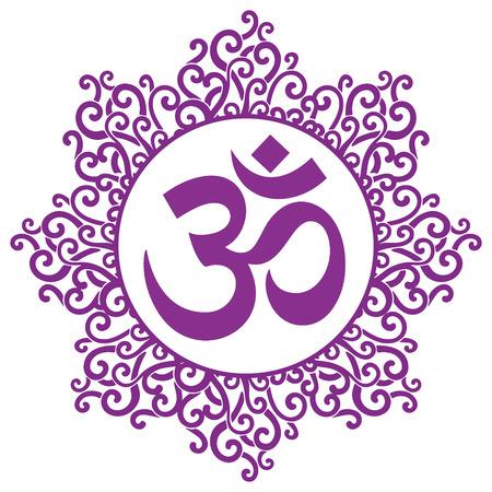 tibet: vector indian spiritual sign ohm
