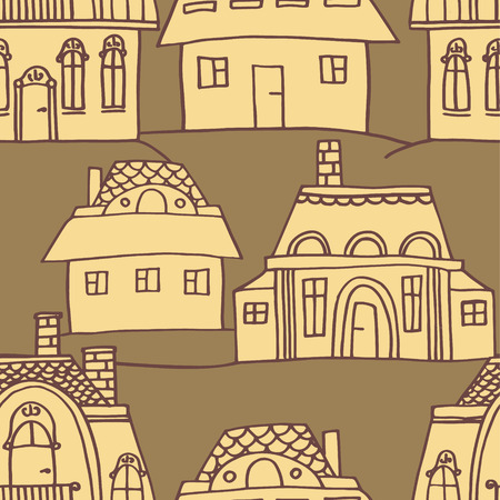 vector sketch houses seamless pattern Vector