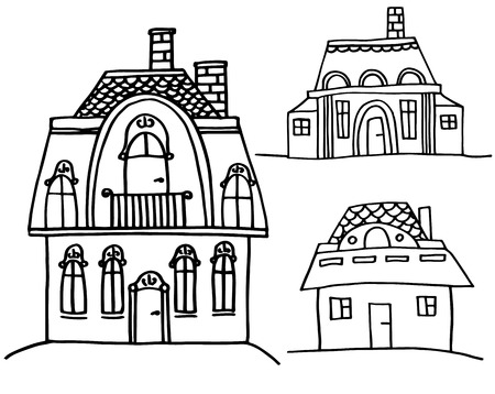 vector set of sketch houses Vector