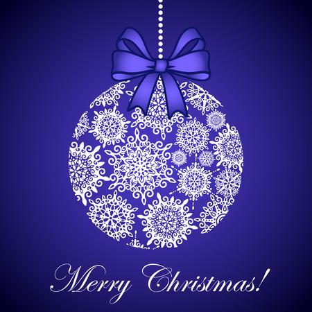 vector tarjeta de Navidad con bola hecha de copos de nieve