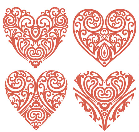 vector set of decorative hearts Vector