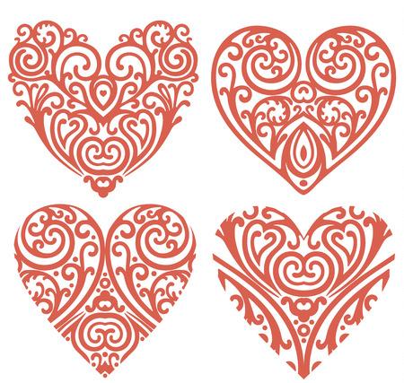 vector set of decorative hearts Vector