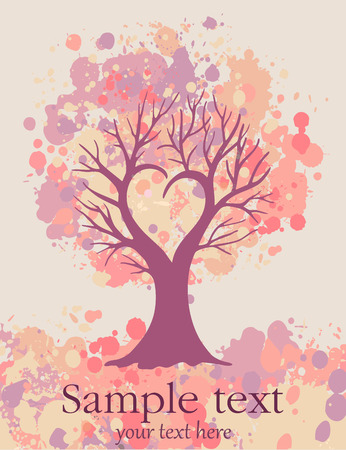 vector valentine card with love tree