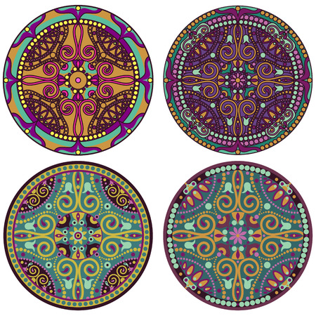 vector set of 4 color mandala Vector