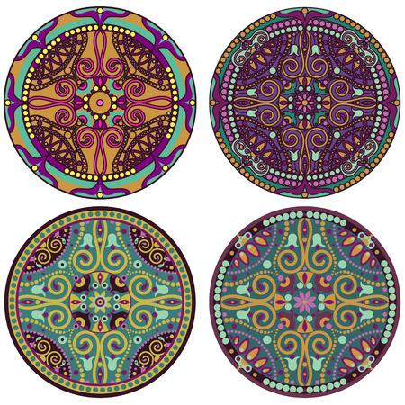 vector set of 4 color mandala Stock Vector - 26795537