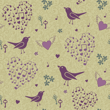vector seamless birds pattern Vector