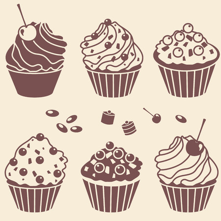 vector cakes silhouette set Illustration