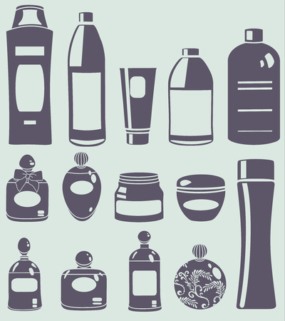 cleaning products: vector cosmetics silhouette set