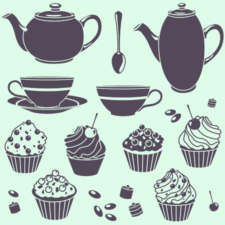 tea set: vector tea set silhouette