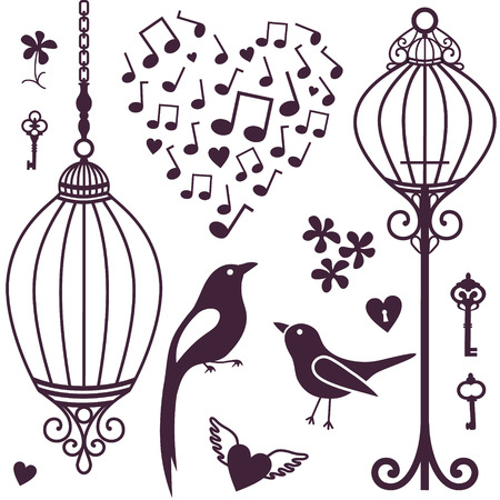 bird cage: vector silhouette of wall stickers