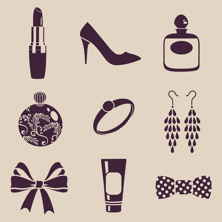 vector silhouette of feminine accessories Vector
