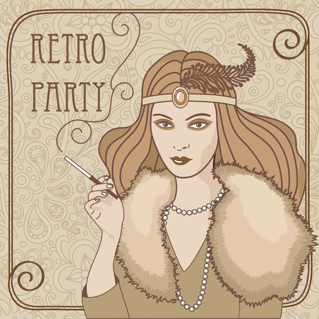 retro vector illustration of smoking  lady Vector