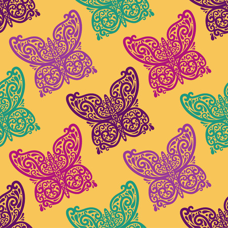 vector seamless abstract  parrern with butterfly Illustration
