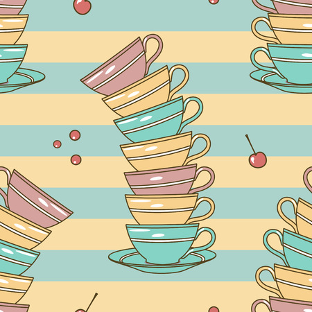 vector seamless parrern with cups Vector