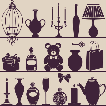 vector silhouettes of interior things Vector