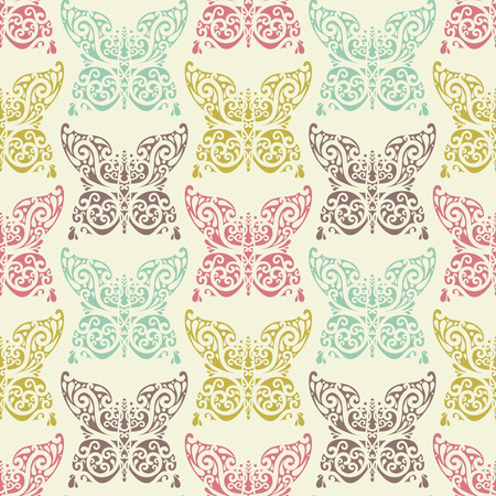 vector seamless abstract  parrern with butterfly Vector