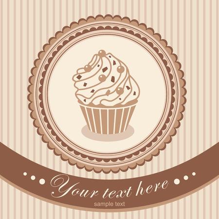vector frame card with cake Vector