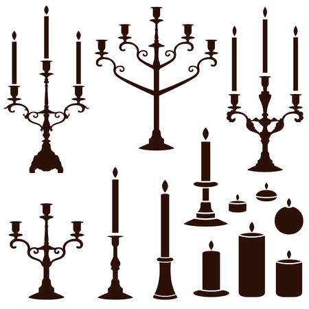 candle holder: vector silhouettes of candles  Illustration