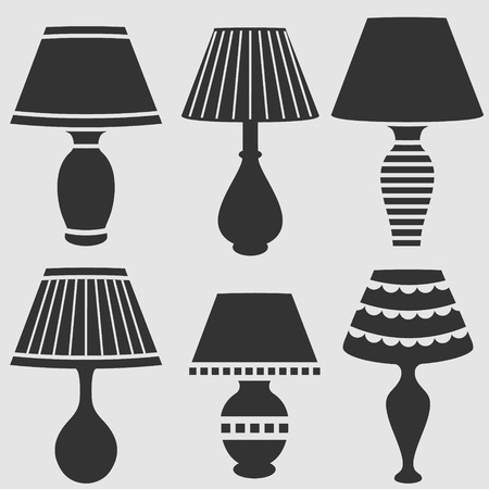 vector silhouettes of lamps