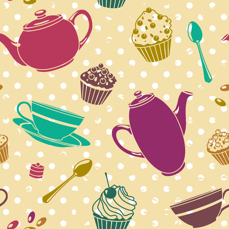 vector seamless pattern with cups and cakes Vector