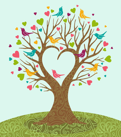 vector illustration of tree and color birds