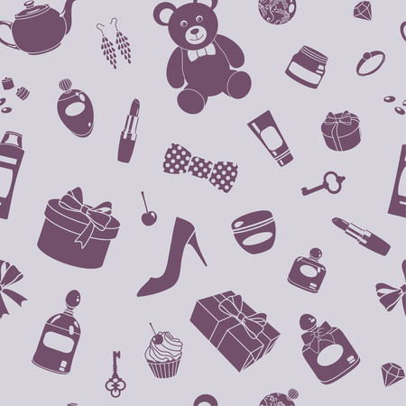 vector seamless pattern with various things Vector